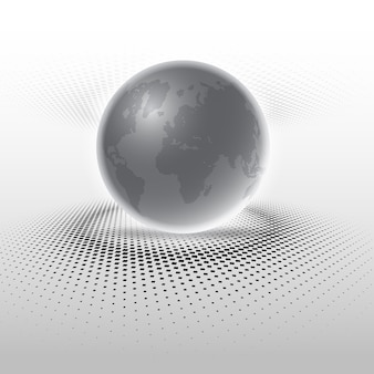 Abstract globe on halftone dots