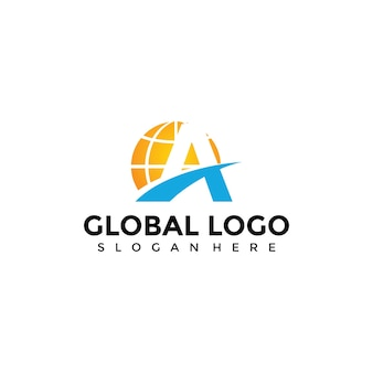 Abstract globe and letter a logo template