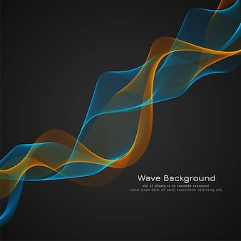 Abstract glossy colorful wave dark background