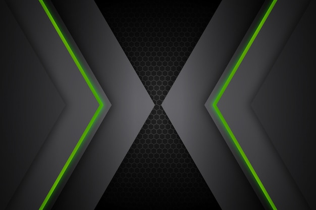 Abstract glow green lines dark background