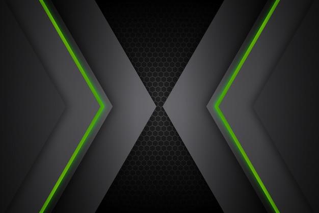 Абстрактные светящиеся зеленые линии темный фон