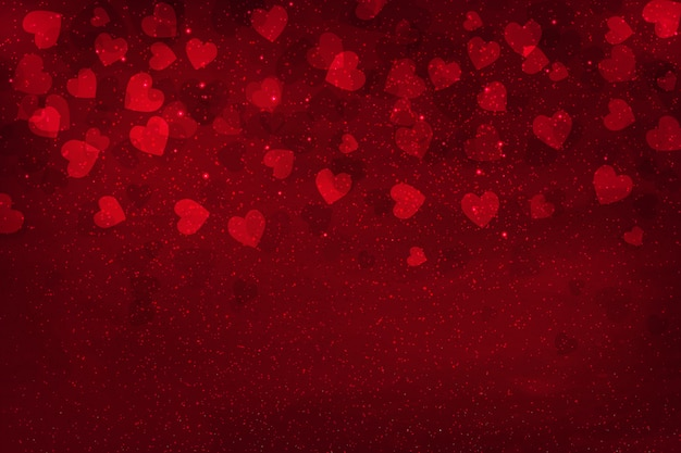 Abstract glow soft red hearts for valentines day background