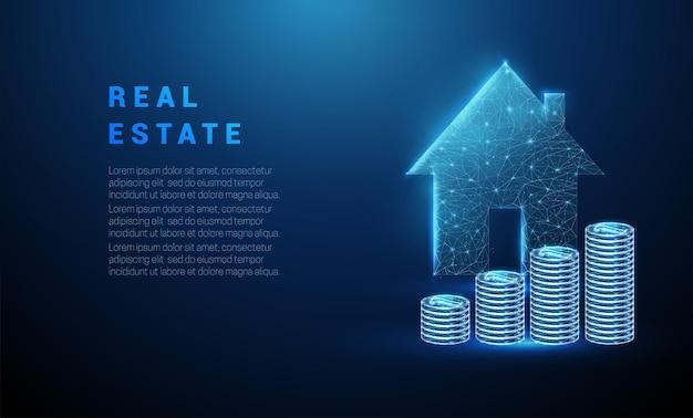 Абстрактный светящийся синий стопку монет и значок дома