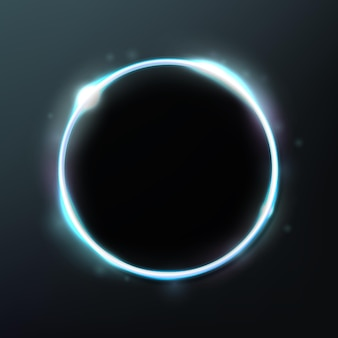 Abstract glowing circle isolated on dark background elegant light ring