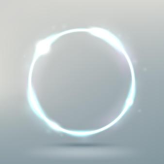 밝은 배경에 고립 된 추상 빛나는 원 우아한 빛 반지