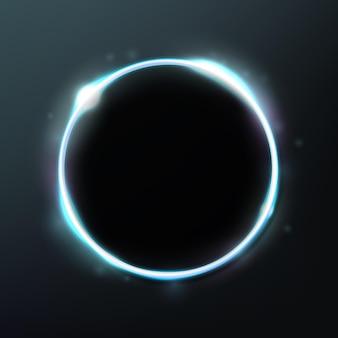 어두운 배경에 고립 된 추상 빛나는 원 우아한 빛 반지