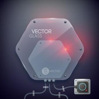 分離された金属グリッドの背景に抽象的な光る電気ガラス六角形ランプ
