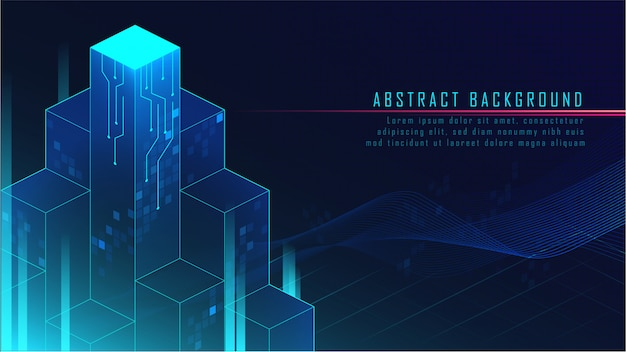 Abstract glowing futuristic blocks background