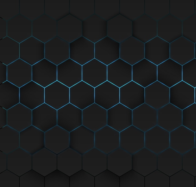Abstract glowing hexagonal cell background