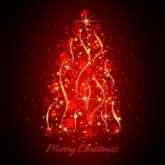 抽象的な輝く光のクリスマスツリー。クリスマスの背景赤