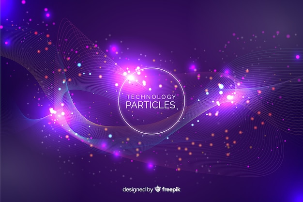 Abstract glowing particles chaotic shapes background