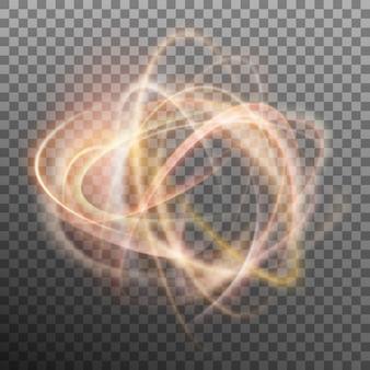 透明なbackfroundの抽象的な光るリング。光の効果の火の輪。そしてまた含まれています
