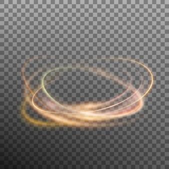 Абстрактные светящиеся кольца на прозрачной backfround. световой эффект огненного круга.