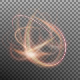 Abstract glowing ring on transparent backfround. light effect fire circle. and also includes