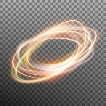 Abstract glowing ring on transparent backfround.