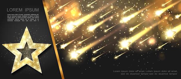 Modello stellato d'ardore astratto con stelle dorate illuminate scintillanti cadenti sull'illustrazione scura del fondo