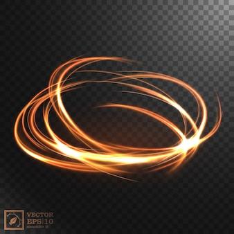 抽象的な輝く渦巻き、エレガントな金の渦巻き。図