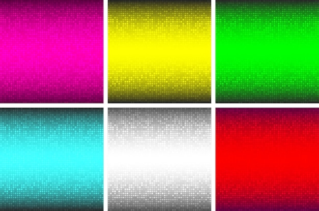 Abstract glowing technology backgrounds set circle gradient pattern digital circle pixe big data