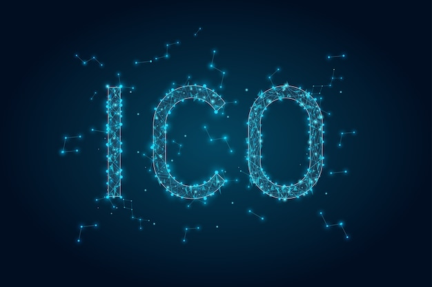 Abstract glowing text ico initial coin offering background