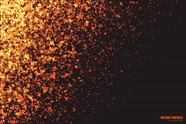 Abstract glowing triangular particles vector background