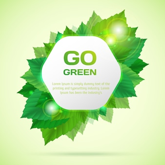 Abstract go green vector illustration with leafs
