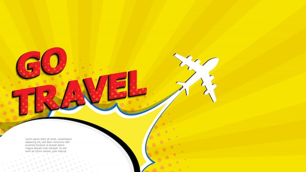 Abstract go travel pop art, comic book with airplane