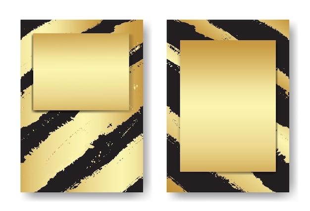 抽象的な金と黒のブラシストロークカバーテンプレート