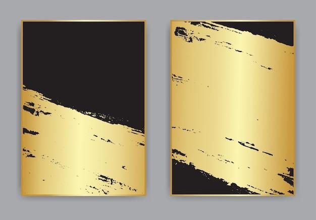 Абстрактный золотой и черный гранж-фон