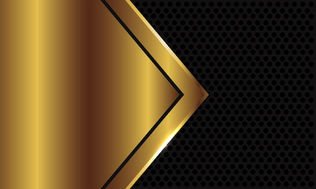 Abstract gold arrow blank space on dark grey circle mesh background.