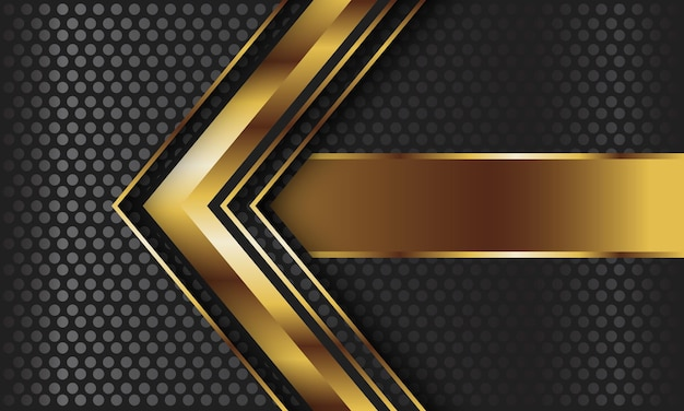 Abstract gold arrow on dark grey circle mesh background.