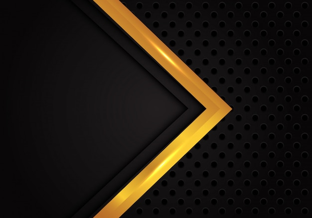 Abstract gold arrow direction black circle mesh background.