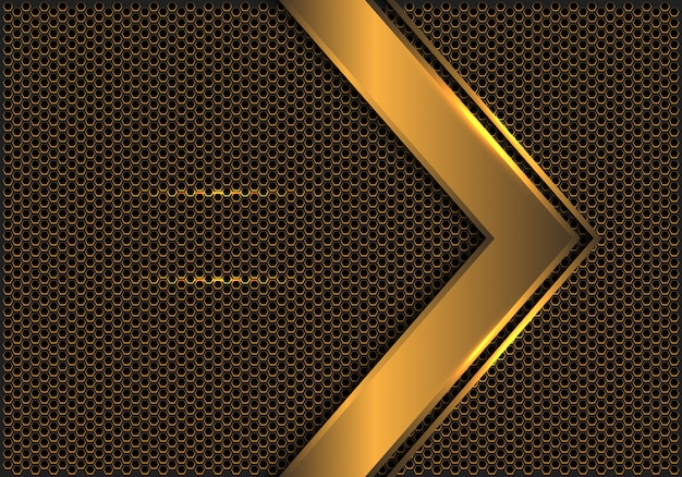 Abstract gold arrow direction hexagon mesh background.