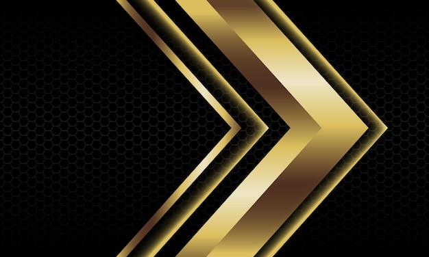 抽象的な金の矢印の影の金属方向の図