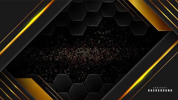 Oro astratto e sfondo geometrico nero