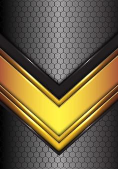 六角形の抽象的な金色の黒い線の矢印は、未来的な背景メッシュ。