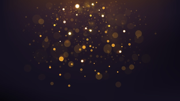 Abstract gold bokeh scattered