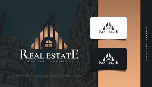 부동산 회사 로고에 대 한 추상 금 건물입니다. 건설, 건축 또는 건물 로고 디자인