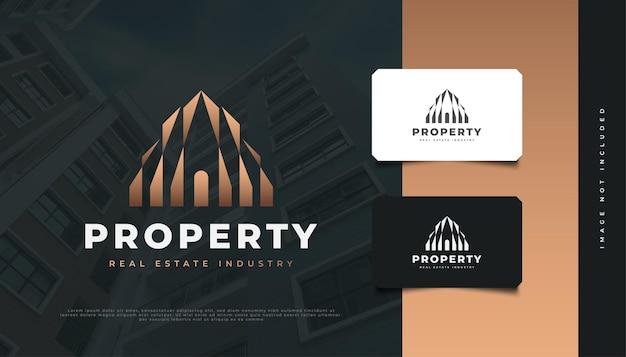 부동산 회사 아이덴티티를 위한 추상 금 건물 로고 디자인