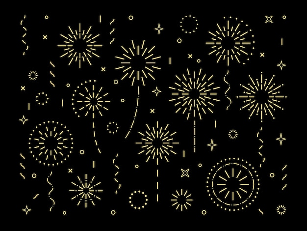 抽象的なゴールドバーストパターン花火セットアールデコ星型花火パターンコレクション分離
