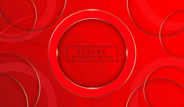 Abstract gold circle lines on red background