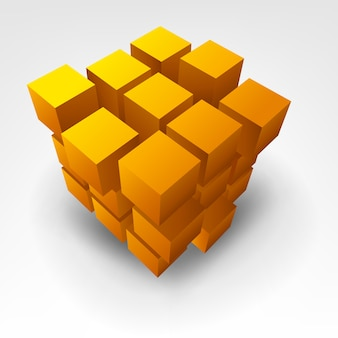 Abstract gold cube