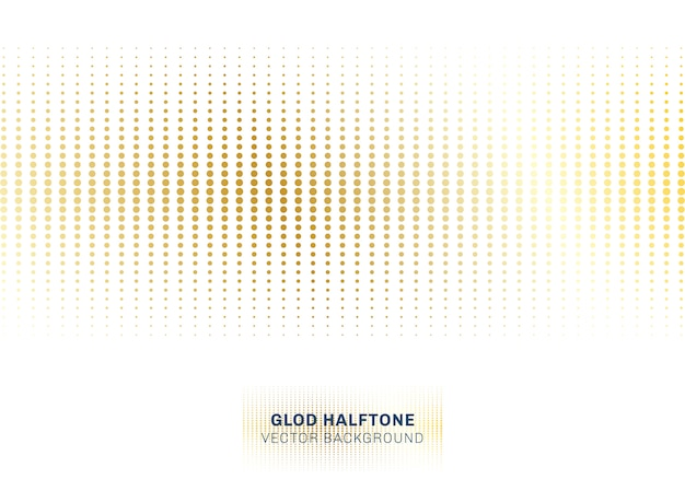 Abstract gold dots pattern halftone on white background