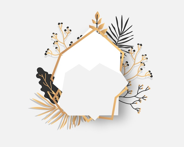 Abstract gold floral frame with exotic tropical leaves, branches, berries. luxury decorative template for text. empty modern polygonal geometric white banner. polyhedron closeup.