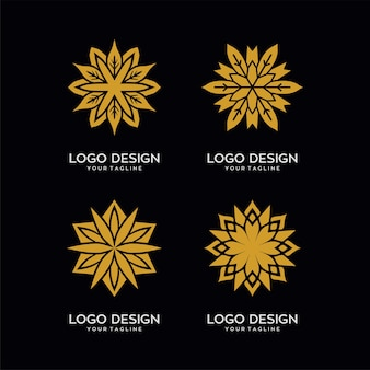 Abstract gold flower logo template
