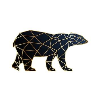 Abstract gold geometric bear design