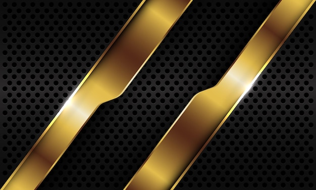 검은 금속 원형 메쉬 배경에 추상 골드 기하학적 라인 슬래시 오버랩.