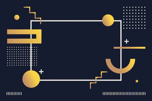 抽象的なゴールドの幾何学的なメンフィスパターン背景