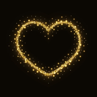 Abstract gold glittering heart frame
