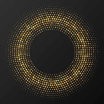 Abstract gold glowing halftone dotted background. gold glitter pattern in circle form. circle halftone dots. vector illustration