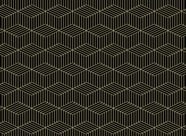 Abstract of gold grid line pattern geometric on black background.